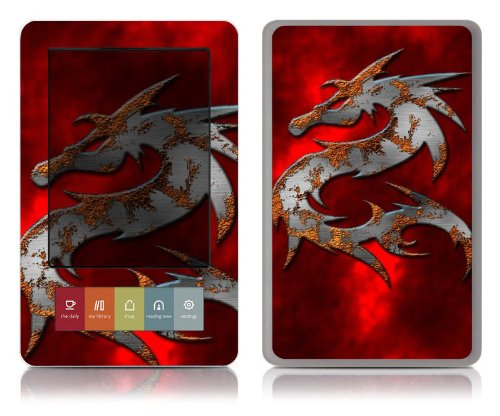 Bundle Monster Barnes & Noble Nook (Fit Nook Black & White Model Only) Ereader Vinyl Skin Cover Art Decal Sticker Protector Accessories - Red Dragon
