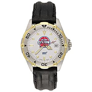 NSNSW22062P-Mens All Star Detroit Pistons Leather Watch by NBA Officially Licensed
