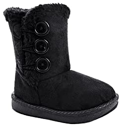 Baby Girl Toddler Black Slouch Buttons Faux Fur Lined Soft Sole Infant Boots-5