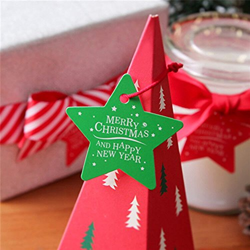 G2PLUS 100 PCS Star Shaped Christmas Gift Tags with String, 'Merry Christmas And Happy New Year' Printed Paper Hang Tags with 100 Feet Natural Jute Twine (Green)