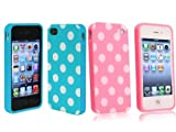 2 in 1 Combo Polka Dot Flex Gel Case for Iphone 4 and 4S – Baby Blue/ Pink Reviews