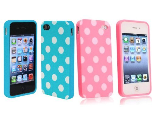 2 in 1 Combo Polka Dot Flex Gel Case for Iphone 4 and 4S – Baby Blue/ Pink