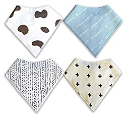 MyBabyMyKing Bandana Bibs for Baby Boys that Rock, a Drool Bib Set of Soft Absorbent 100% Cotton, Stylish Designs for Drooling Teething Babies, Cowboy Style Cute Gift Set, Neutral Colors, 4 Count