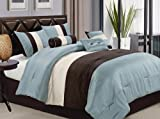7-pieces Faux Silk Aqua Blue Brown Beige Pleating Stripes Comforter Set Queen