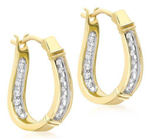 9ct Yellow Gold 0.12ct Diamond Set Creole Earrings