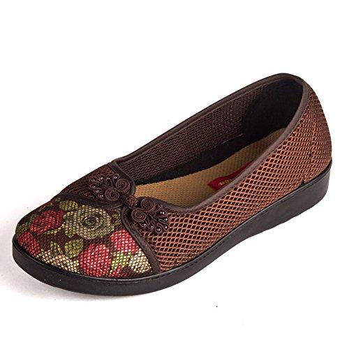scarpe vecchie/scarpe traspiranti estive WTA/Tempo libero talloni piani inferiori molli/scarpe donne di mezza età-B Lunghezza piede=24.8CM(9.8Inch)
