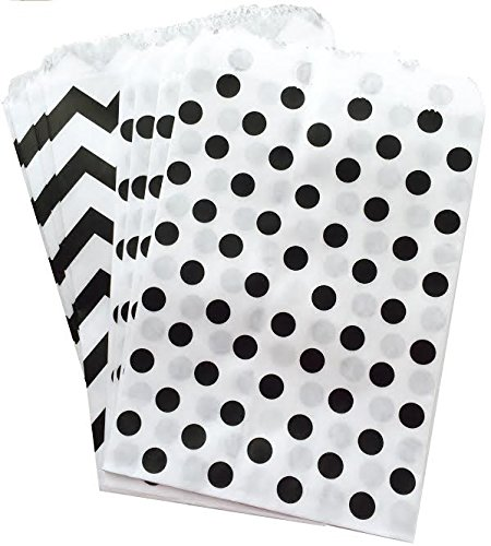 Outside the Box Papers Polka Dot and Chevron Treat Sacks 5.5 x 7.5 48 Pack Black, White (Popcorn Bag Flat compare prices)