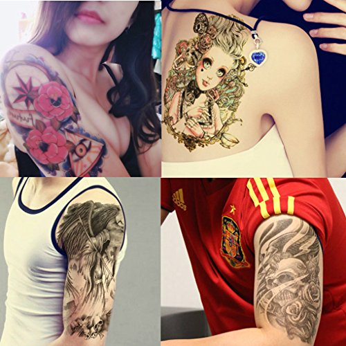 MyFav 8 Sheets Temporary Tattoos Body Art Arm Waterproof Stickers - Beauty Women, Dog, Wolf, Buddha, Ghost, Skeleton.
