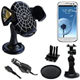 In Car Charger And Dashboard, Air vent & Windscreen Suction Mount Holder Cradle Kit With 360° Degree Rotation Feature For All New Models Including Samsung Galaxy 3 Apollo i5800, Galaxy Ace S5830, Galaxy Ace 2, Galaxy Ace Advance, Galaxy Beam, Galaxy Euro