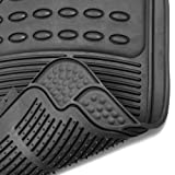 OxGord® 4pc Full Set Ridged Heavy Duty Rubber Floor Mats, Universal Fit for Car, SUV, Van & Trucks (Black)