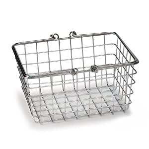 "Small Wire Basket - (Chrome) (6.75""H x 4.75""W x 9""D)"