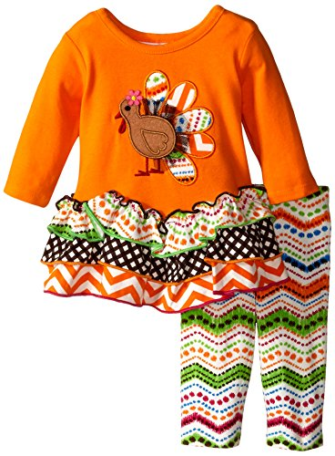Bonnie baby baby girls gingerbread turkey appliqued mixed print