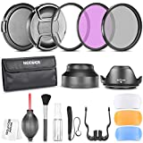 Neewer 49MM Professional Accessory Kit for Canon EOS 400D/ Xti;450D / Xsi; 1000D/ XS; 500D/T1i;550D/ T2i;600D/T3i; 650D/T4i;700D/T5i;100D;1100D; Nikon Sony Samsung Fujifilm Pentax and Other DSLR Camera Lenses with 49MM Filter Thread - Includes: Filter Kit (UV, CPL, FLD) + Carrying Pouch + Lens Hoods (Tulip and Collapsible) + Flash Diffuser Set + Lens Caps (Center Pinch and Snap On) + Cap Keep