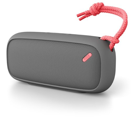 Nudeaudio Move L Portable Wireless Bluetooth Speaker - Charcoal/Coral