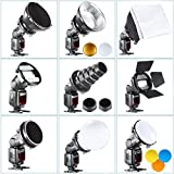 Neewer Pro (Pro Version of Neewer® Product) Speedlite Flash Accessories Kit with Barndoor, Conical Snoot, Mini Reflector, Sphere Diffuser, Beaty Disc, 8