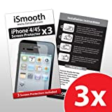 iPhone 4 Screen Protector - iPhone 4S Screen Protector - iSmooth (3 Pack) - Perfect Fit for Your Apple iPhone 4 - Free Lifetime Replacement Guarantee - Package Includes BONUS Cleaning Cloth and Three (3) Screen Protectors