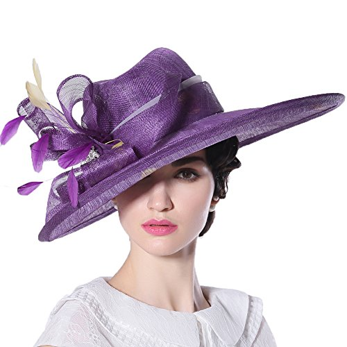 June's Young Women Hats Church Hat Sinamay Formal Hat Wedding Party Bucket Hat (Purple)
