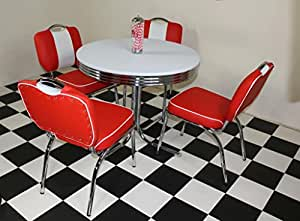50s diner furniture budget retro style table and 4 studded red chairs