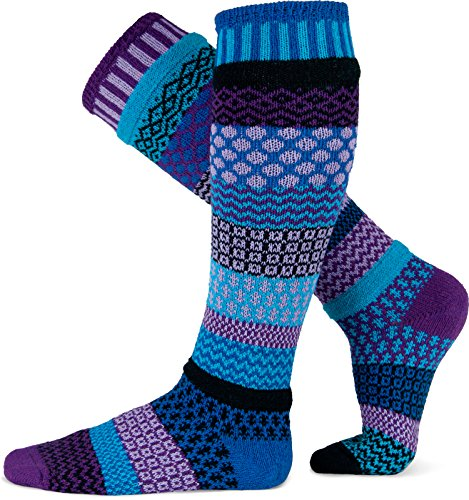 Solmate Socks - Mismatched Knee High Socks; Made in USA with Recycled Cotton Yarns; Raspberry Small