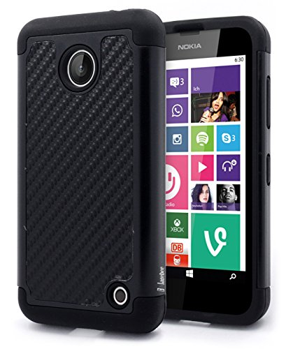 Nokia Lumia 635 Case, Nokia Lumia 630 Case, NageBee - Hybrid Dual Layer Armor Defender Protective Case for Nokia Lumia 630 & 635 (Hybrid Armor Carbon Fiber) (Lumia 635 Protective Case compare prices)