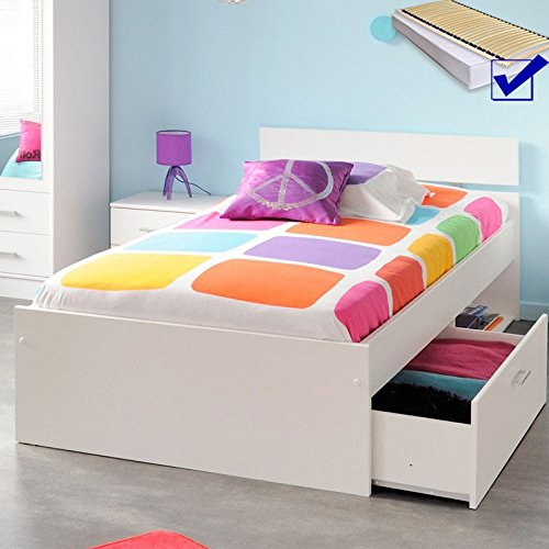 Kinderbett Inaco 20 weiß 90×200 Jugendbett mit Bettkasten Lattenrost Matratze Stauraumbett Gästebett Jugendzimmer Kinderzimmer Gästezimmer jetzt bestellen