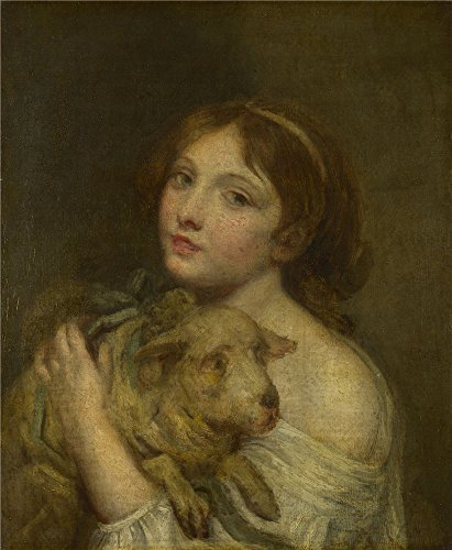 Polyster Canvas ,the Best Price Art Decorative Prints On Canvas Of Oil Painting 'Jean Baptiste Greuze A Girl With A Lamb ', 30 X 36 Inch / 76 X 93 Cm Is Best For Nursery Artwork And Home Artwork And Gifts