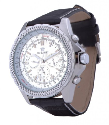 Ouyawei Men'S Six Stitches Mechanical Round White Dial Silver Shell Water-Proof Watches