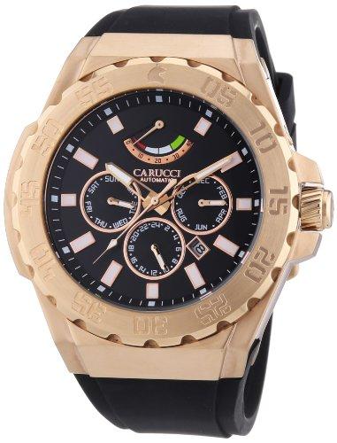 Carucci Watches  Marano di Napoli - Reloj de automático para hombre, con correa de goma, color negro