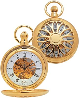 Woodford Pocket Watch 1029 Gold Plated Cut Out Mechanical Half Hunter