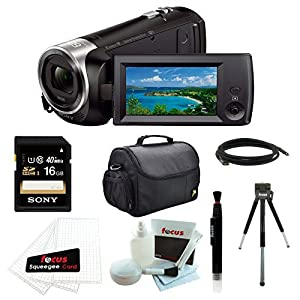 """Sony HDR-CX440/B (HDRCX440 HDRCX440B) Full HD 60pVideo Recording Handycam Camcorder with Sony 16GB SDHC Memory Card + Camera Case + 8"""" Table Tripod and Accessory Bundle"""