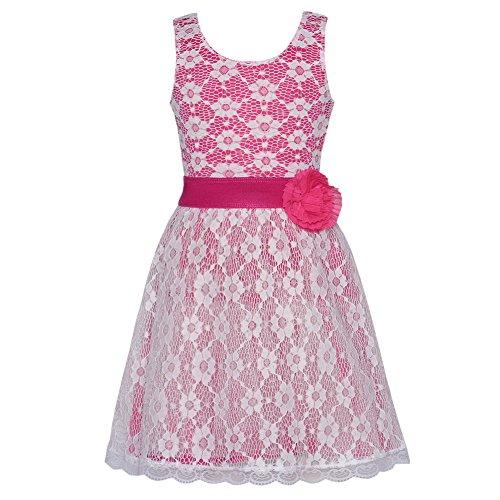 Lipstik Fuchsia Ivory Lace Overlay Designer Dress Toddler Girl 2T front-808149