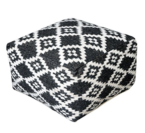 Rugs2Clear Hand Made Charcoal & Ivory Wool Novona Pouf (55cm x 55cm x 35cm),1 Piece