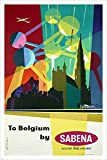 sabena airline VINTAGE TRAVEL POSTER helicopter atomium BRIGHT NEW 24X36