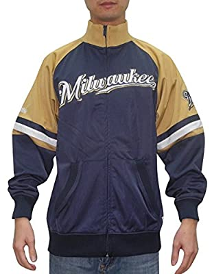 MLB Milwaukee Brewers Mens Zip-Up Track Jacket with Embroidered Logo