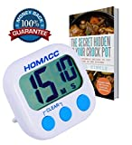 Homacc Kitchen Timer, Digital Countdown Timer With Large Electronic Digits, Loud Alarm, Strong Magnetic Backing, Stand Hook.