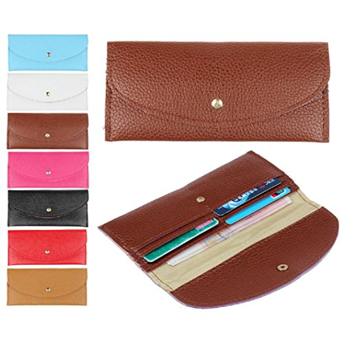 DZT1968(TM)Women Candy Color Retro Pu Leather Long Thin Button Purse Pouch Clutch Bag Card Holder Wallet Gift
