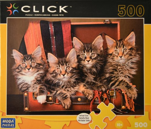 Click Puzzle, Four Kittens. 500 Piece. Suit Case Kittens. - 1