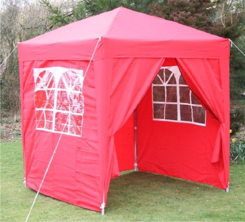 2.0x2.0mtr Red Pop Up Gazebo, FULLY WATERPROOF with Four Side Panels and Carrybag