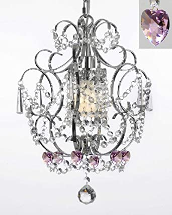 Chrome Crystal Chandelier With Pink Crystal Hearts