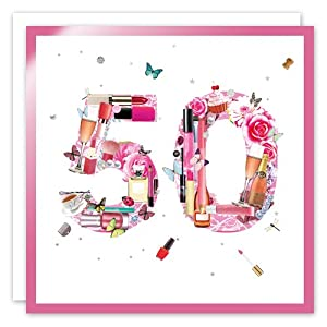 50th Birthday Greeting Card - Make Up Collection by Real & Exciting Designs: ...