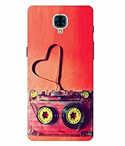 Make My Print Cassette Printed Red Hard Back Cover For OnePlus 3