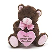 Pink & Brown Little Teddy Bear Youre Sweeter Than Chocolate Valentines Da...