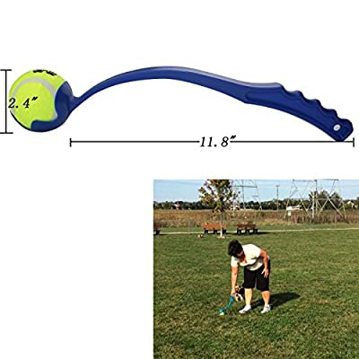 """Dog Ball Launcher / Thrower By Dfied - Comes with 3 Tennis Balls - Thrower Is Light Weight & Durable (Colors Vary) - Handle 14"""" (38cm) - Easy to Throw Long Distance"""