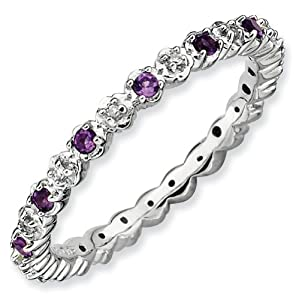 Genuine IceCarats Designer Jewelry Gift Size 5.00 Sterling Silver Stackable Expressions Amethyst & Diamond Ring In Sterling Silver.