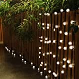 LED16ft 20 LED Solar Outdoor String Fairy Lights Dandelion Ball Solar Power Waterproof String Lights for Outside Garden Camping Patio Party Christmas (Warm White)