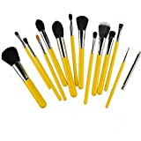 Kolight 15pcs Fashion Cosmetic Foundation Blending Blush Eyeliner Face Powder Makeup Brush Set (Yellow+Silver)