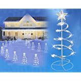 Set of 3 Clear Lighted Outdoor Spiral Walkway Christmas Trees Yard Art 18""