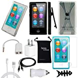DigitalsOnDemand ® 11-Item Accessory Bundle Kit for Apple iPod Nano 7th Generation 16GB (Newest Model) - Slim Case Cover, Case with Clip, USB Cables + Chargers, Lightning Cable, Screen Protector