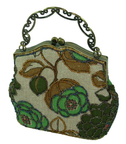 A Beaded Green Flower and Tint Silver Cloth Base Evening Handbag W/long Chain.Best Gift Item Choice-- #2