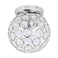 Modern Round Chrome & Clear Acrylic IP44 Rated Bathroom Ceiling Light